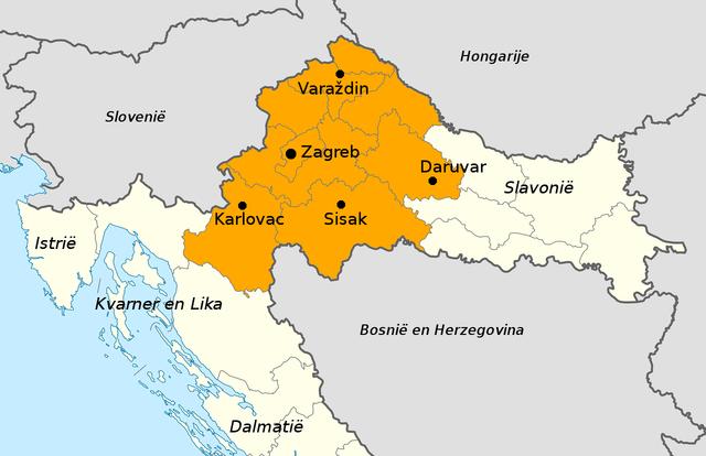 Kaart Centraal-Kroatië