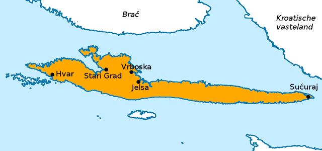 Kaart van het eiland Hvar