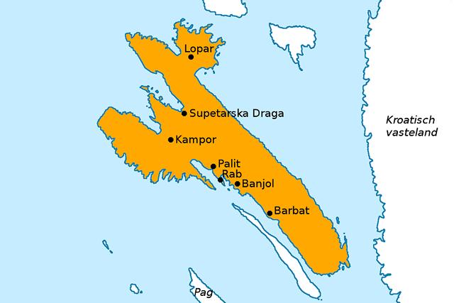 Kaart van Rab