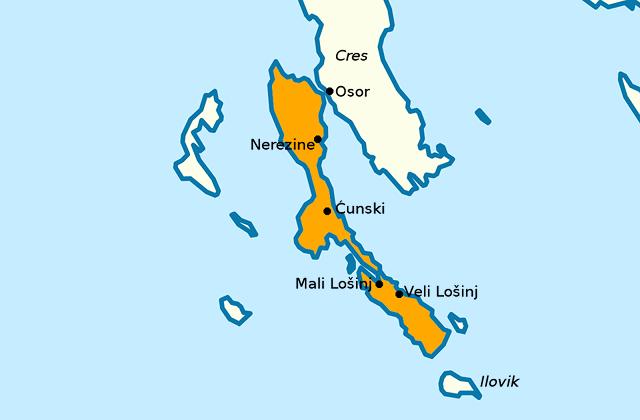 Kaart van Lošinj