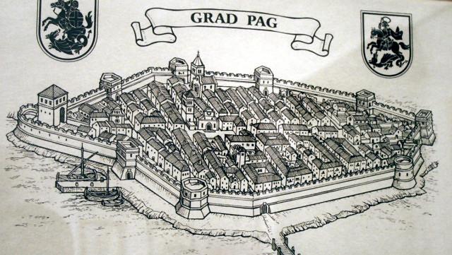 Het plaatsje Pag in de middeleeuwen.