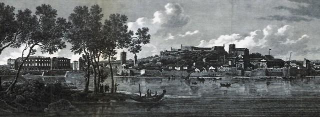 Pula aan het begin van de 19e eeuw met het amfitheater duidelijk zichtbaar